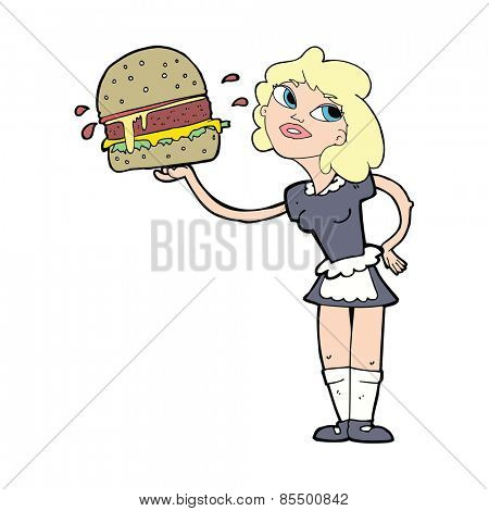 cartoon waitress serving burger