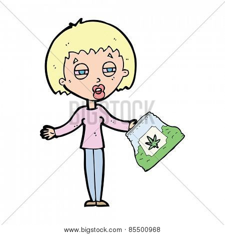cartoon woman with bag of weed