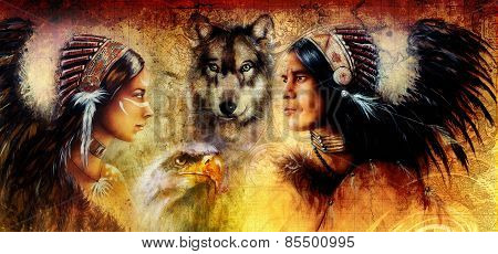 Beautiful Painting Of An Young Indian Man And Woman  Accompanied With  Wolf And Eagle On Yellow Orna
