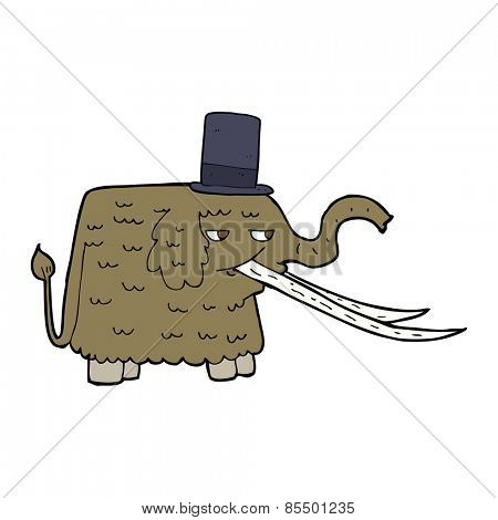 cartoon mammoth wearing top hat