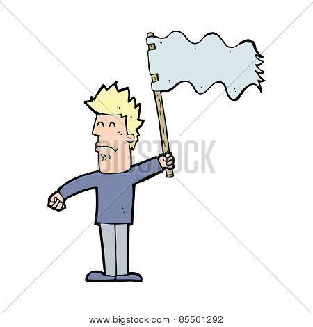 cartoon unhappy man waving flag