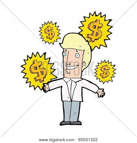 cartoon salesman making money