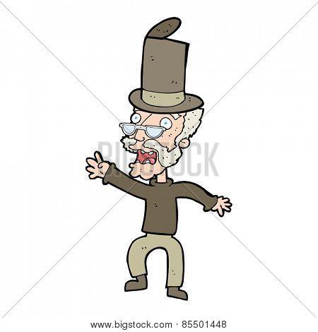 cartoon old man in top hat
