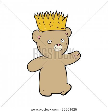 cartoon teddy bear wearing paper crown