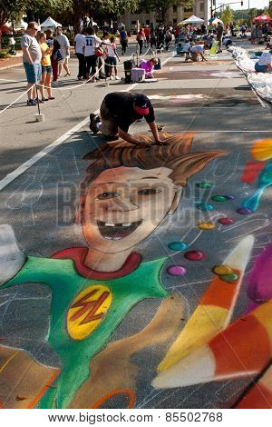 Chalk Artist Draws Halloween Scene On Street
