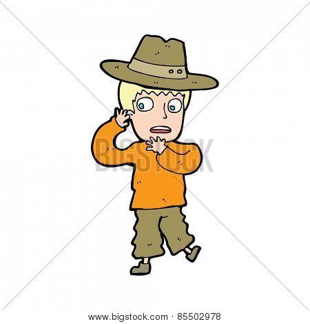 cartoon scared boy in hat