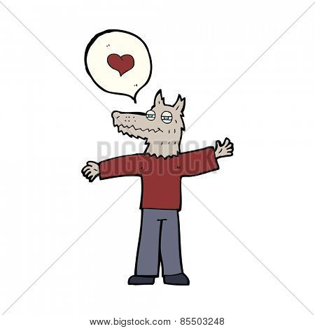 cartoon werewolf in love