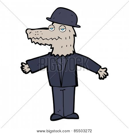 cartoon smartly dressed werewolf