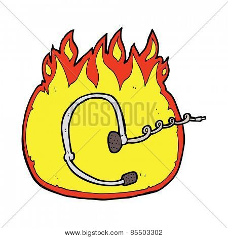 burning call center headset cartoon