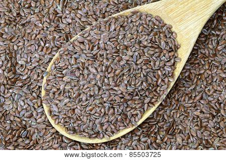 A wooden spoon full of Linseed (Flaxseed). Flaxseed are seeds from flax plant.