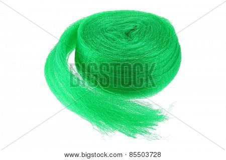 A roll of  anti bird Garden netting in green color, isolate on white
