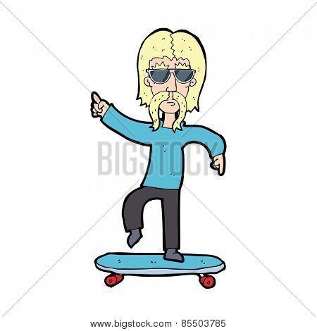 cartoon older man on skateboard