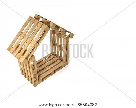 abstract 3d wood pallet house