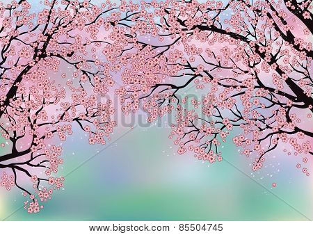 Branches of blossoming trees on a background created with a Mesh tool
