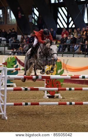 KAPOSVAR, HUNGARY - MARCH 15: Sandor Pinter Legenyei jumps with his horse (Caro Freddo) on the Masters Tournament International Jumping Competition, March 15, 2015 in Kaposvar, Hungary