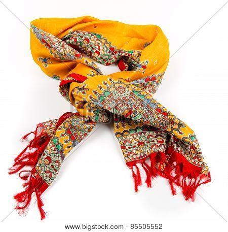 yellow indian silk scarf dupatta isolated