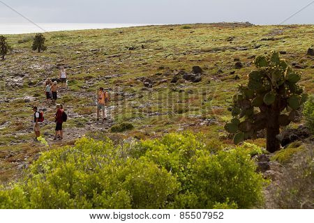 Unidentified tourists trekking in an island in Galapagos, Ecuador