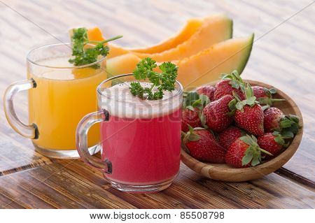 Melon And Strawberry Juice