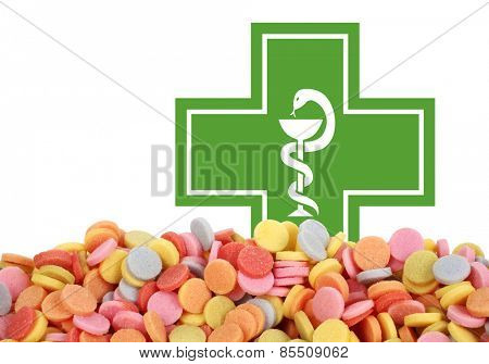 Medicament drugs tablets and pharmacy sign