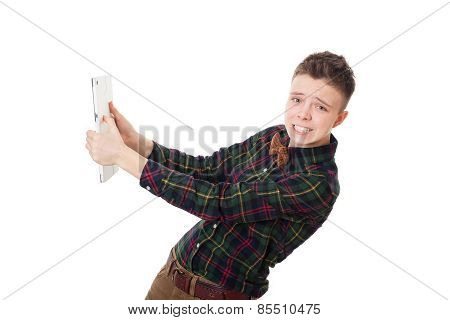 Handsome Angry Hipster Guy With Tablet