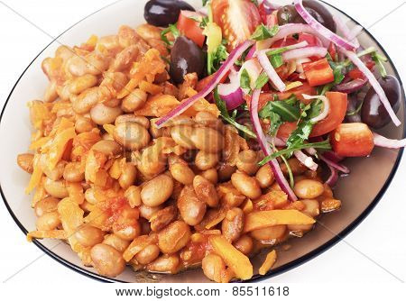Beans stewed with vegetables