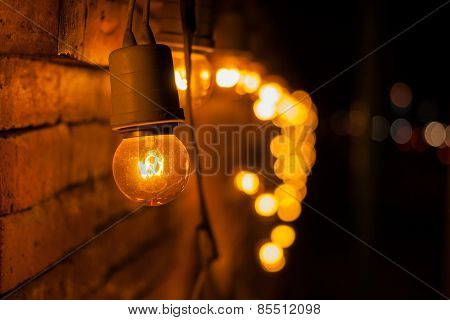 Lamp Decorated On Wall.