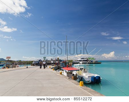 Port Of The Island Of La Digue