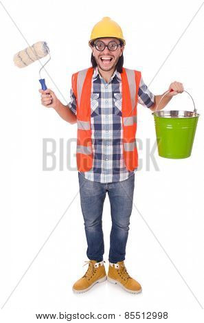 Funny painter with painting accessories isolated on white