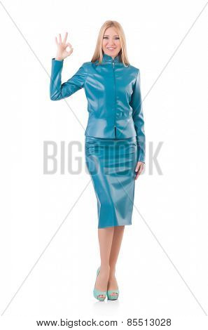 Woman in blue leather dress isolated on white