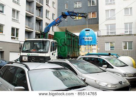 Trash Car In Vilnius City Pasilaiciai District