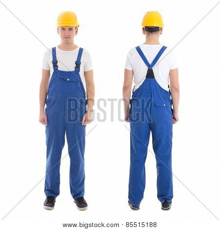 Front And Back View Of Man In Blue Builder Uniform Isolated On White