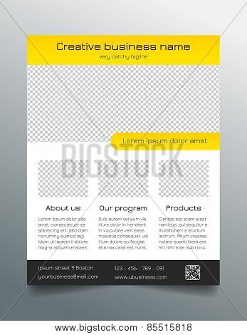 Business flyer template - modern sleek design in yellow and grey