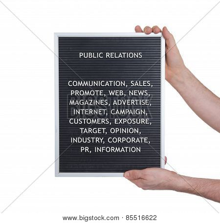 Public Relations Concept In Plastic Letters On Very Old Menu Board