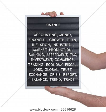 Finance Concept In Plastic Letters On Very Old Menu Board