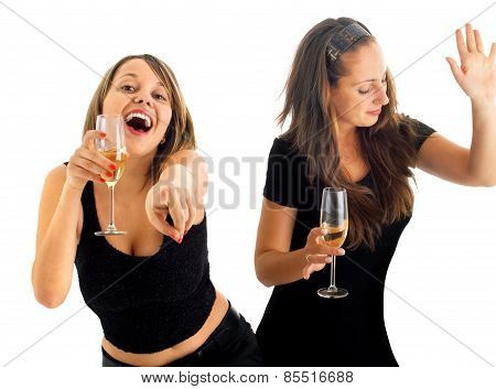 Girls Dancing With Champagne