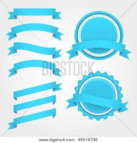 Set of blue paper ribbons, labels and badges