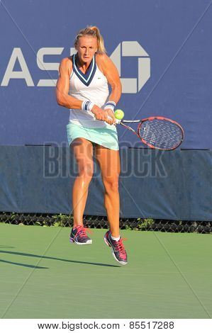 Professional tennis player Lesia Tsurenko from Ukraine during US Open 2014 qualifying match