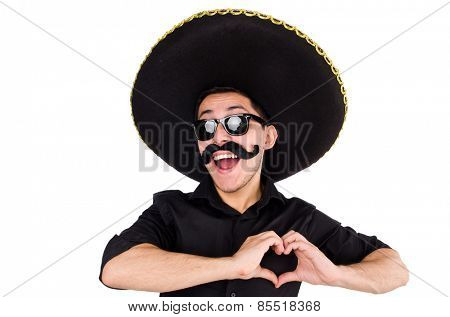 Mexican man gesturing isolated on white