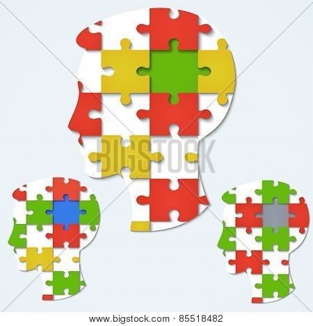 Set Of Images Of A Human Face In The Form A Jigsaw Puzzle With Colored Parts.