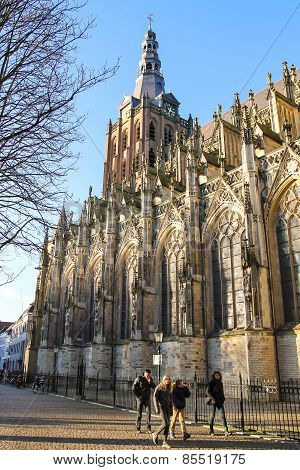 People Near The Cathedral In  Dutch City Of Den Bosch. Netherlands