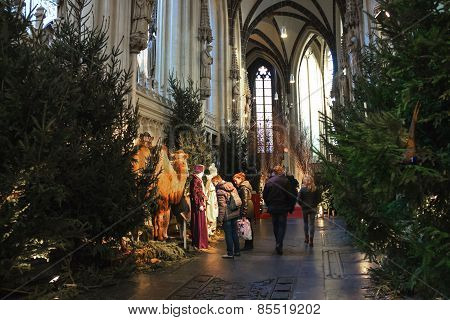 People Near The Nativity Scenes In The Cathedral The Dutch City Of Den Bosch