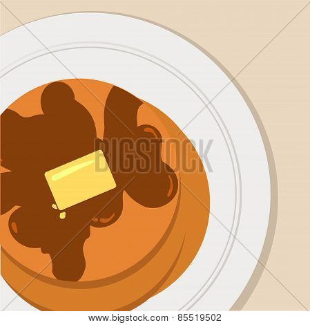 breakfast flat vector illustration pancakes with maple syrup