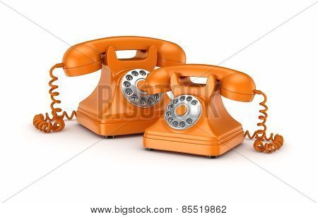 3d rendered retro telephones