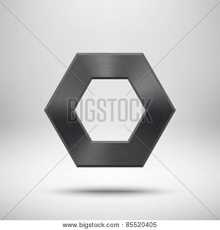 Black Abstract Polygon Button Template