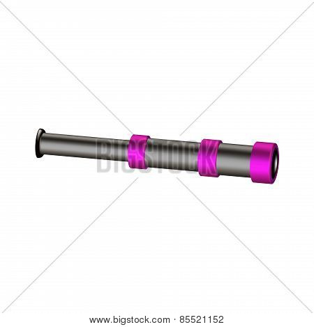 Vintage spyglass in black and purple design