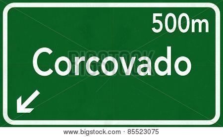 Corcovado Rio De Janerio Brazil Highway Road Sign