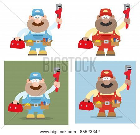 Cartoon Illustration Of Mechanic Character 2. Collection Set