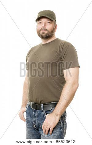 An image of a handsome man with a beard body isolated on white