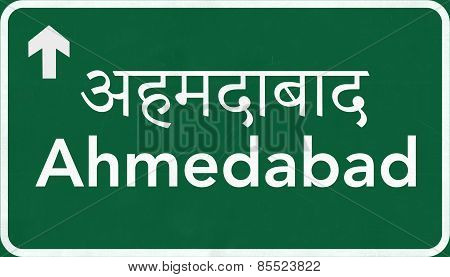 Ahmedabad India Highway Road Sign
