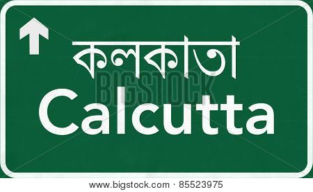 Calcutta India Highway Road Sign